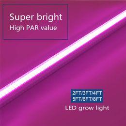2019 maior par led grow light O diodo emissor de luz T8 cresce a luz, planta a rendimento elevado cresce a tira clara, substituição completa da luz solar do espectro com PAR alto para a planta interna, 2ft-8ft conduziu os tubos maior par led grow light barato