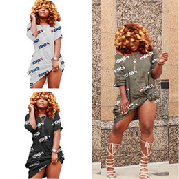 sheer clubwear dresses Coupons - Women Short Sleeve Loose T Shirt Dress F Letter Print Off Shoulder Mini Shirt Skirts Mid Length T shirt Dresses Sports Clubwear A42606