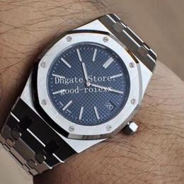 Relógios reais on-line-Relógios dos homens 39 MM Mens Automatic Cal.2121 Assista Men Blue Dial 904L Pulseira De Aço Real 15202 Data 24 Jóia de Carvalho Miyota JF relógios de Pulso