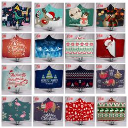 2020 kapuzen kap kinder 16styles Weihnachten Kapuzendecken Warme Weihnachten gedruckt Decke Sherpa Fleece Cape Wrap zu Hause Kinder Kapuzenmantel 130 * 150CM FFA3338 rabatt kapuzen kap kinder