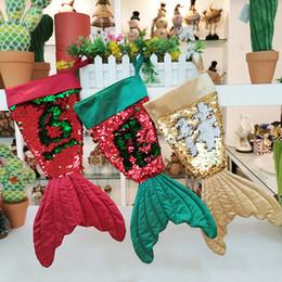 giocattoli all'ingrosso del harry potter Sconti Decorazioni di Natale 3 colori Mermaid Forma calze di Natale Bling Bead vibrazione di coda Socks Gift Bag della calza di natale Ornamenti MJY777