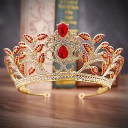 Wedding Hair Accessories Tiaras and Crowns Hair Jewelry Baroque Gold  Princess Crown Red Green Crystal Rhinestone Tiara Ornaments 8312d3f364f5