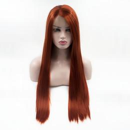 longo, reto, cabelo, lado, despedida Desconto Transporte rápido Longo Reta De Cobre Vermelho Cosplay Perucas Dianteira Do Laço Sintético Natural Linha Fina Alta Peruca De Cabelo Parte da Parte Dianteira Do Cabelo perucas Para As Mulheres