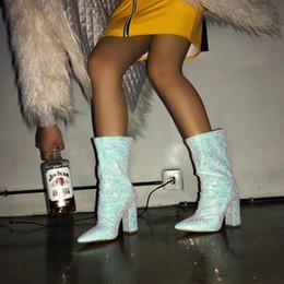 2019 silberne dicke fersenschuhe frauen 2019 Neue Damenschuhe Sexy Silber Pailletten Spitz Dick Mit Den Stiefeln High Heel Pumps Zip Girl Luxus Schuhe Frauen Designer rabatt silberne dicke fersenschuhe frauen