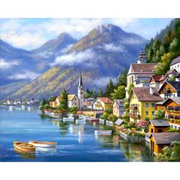 telai di pittura a olio del villaggio Sconti quadri moderni Alpine Village mediterraneo Paesaggi ad olio su tela Handmade art Gift