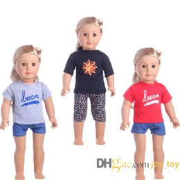 18 inch dolls for girls Promo Codes - New Summer Suit 18 inch Doll Cloth Shirts Pants for American Girl Our Generation Boy Girl
