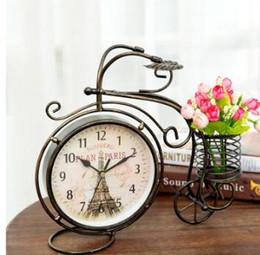 2019 relógios de mesa de cerâmica Atacado-8 Polegada Estilo Retro Triciclo Mudo Relógio de Mesa de Ferro Do Vintage Arte Silenciosa Relógio de Mesa Decoração Ornamento