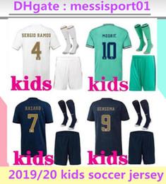 Kits para crianças on-line-2019/20 crianças Real Madrid kits KIDS camisa de futebol # 7 de perigo com meias 19/20 camisa de futebol Asensio MODRIC CITP Conjuntos de futebol criança