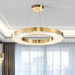 kristall-kronleuchter 12 arm Rabatt Kreis LED Kronleuchter Beleuchtung Für Wohnzimmer Gold Moderne Kristall pendelleuchte Schlafzimmer Poliertem Stahl Ring Lüster De Cristal