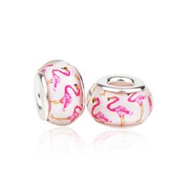 Europäische neue s925 silberkern rose crane murano glas perlen charms pandora armbänder halskette diy frauen schmuck zubehör von Fabrikanten