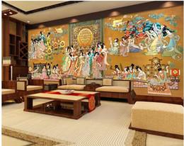 2019 murais de parede chineses 3d papel de parede personalizado foto mural Enorme palácio Chinês menina figura fundo home decor sala de estar 3d murais de parede papel de parede para paredes 3 d desconto murais de parede chineses