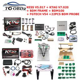 Programmeur adaptateur obd2 en Ligne-Kit de paramétrage OBD2 Manager 2019 Kess 2 V4.036 Programmateur Ktag BDM100 ECU FGTECH Galletto 4 V54 cadre bdm avec adaptateur 22PCS
