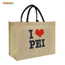 Sac à main en gros en Ligne-300pcs / lot gros logo imprimé personnalisé réutilisable pliable sacs à provisions lourds sac de toile de jute d'épicerie en lin
