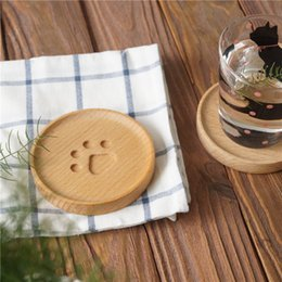 2019 lindos manteles Cute Simple Cat Paw Wood Drink Coaster Pad Lovely Coffee Cup Mat Tea Pad Dining Soft Wooden Placemats Accesorios de decoración CT0416 lindos manteles baratos