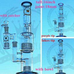 2019 tuyau de 18,8 mm glassfactorys 4 conduites d'eau en verre en nid d'abeille en percolateur en nid d'abeille Real Picture Bong en verre avec bol libre, plates-formes pétrolières promotion tuyau de 18,8 mm