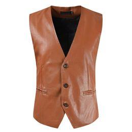 Ärmellose lederjacke herren online-PU Leder Weste Anzug Jacken Westen Westen Mens Formal Zipper Einreiher Sleeveless Wedding Jacket Men Herringbone Coat