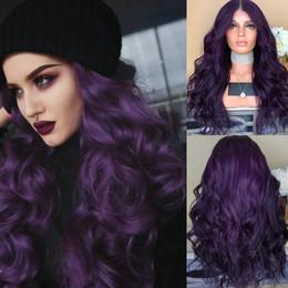 dunkle lila schwarze perücken Rabatt Haarperücke lang lockig dunkelviolett schwarz hitzebeständige Kunsthaarperücken für Frauen