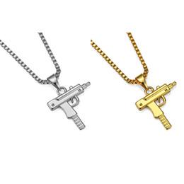 18 gun online-Hip Hop Lange Anhänger Halskette Männer Frauen Fashion Brand Gun Form 18 Karat Vergoldet Anhänger Halskette Pistole Internet Promi Gun Anhänger