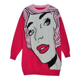2019 herbst Winter Frauen Pullover neue cartoon rote Lippen Mädchen auge rundkragen pullover gestrickt Übergroßen pullover Jumper z655