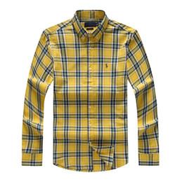 Camisa polo a xadrez on-line-Ralph Lauren Polo Homens designer de camisas dos homens de luxo da manta tarja camisas tamanho grande solta lazer casaco de lazer camisa clássica de manga comprida