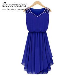2018 vestido de verano vestido sin mangas Vestido de gasa con cuello en V Diamantes Azul Casual plisado Sexy oficina de trabajo Vestidos Plus gran tamaño desde fabricantes