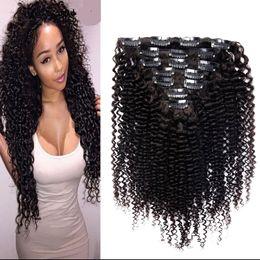 Sınıf 7a bakire işlenmemiş Moğol Afro Kinky Kıvırcık Örgü İnsan Saç Uzantıları Remy Saç Klip Doğal Renk Tam kafa 20