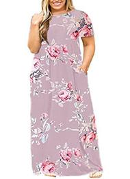 20dfc03e805 YONYWA Plus Size Womens Dresses Short Sleeve Casual Loose Plain Long Maxi T  Shirt Dress with Pockets