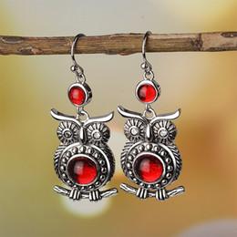 Pendientes tailandeses online-Hot New Vintage Thai Owl Earrings Pendientes de compromiso con rubíes con incrustaciones de Europa y América Mujeres