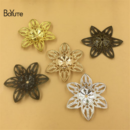 wholesale brass stamping Coupons - BoYuTe (50 Pieces Lot) Metal Brass Stamping 28MM Filigree Flower Findings Diy Hand Made Jewelry Accessories Wholesale