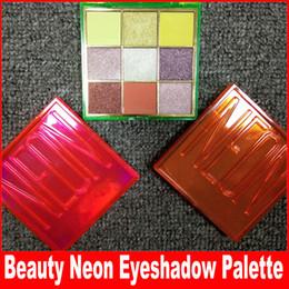 Розовая палитра теней для век онлайн-Красота макияж глаз розовый оранжевый зеленый палитра теней для век 9 цветов мерцание матовый Неоновый тени для век 3 стили