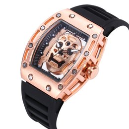 Relógio de pulso crânio on-line-Alta Qualidade Mens Luxo Assista Esqueleto Da Cabeça Do Fantasma de Silicone Famosa Marca Relógios Crânio Sports Quartz Oco Relógios De Pulso Presentes Relógio 3A1