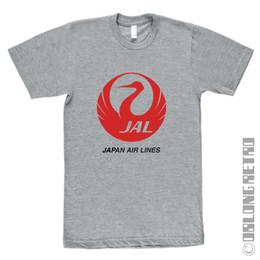 camiseta de japón Rebajas Elegante Retro Japan Air Lines T Shirt - indie Japanese airlines - NUEVO - greyFunny envío gratis Unisex Casual Tshirt