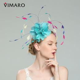 Головные уборы для свадеб онлайн-Бирюзовые Волосы Fascinators Шляпы Для Женщин Элегантный Fascinators Для Свадьба Шляпы И Fascinators Аксессуары Для Волос Ободки