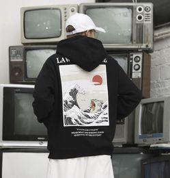 2019 wellen-sweatshirt 2019 japanische Stickerei Lustige Katze Welle Gedruckt Fleece Hoodies Winter Japan Style Hip Hop Beiläufige Sweatshirts Streetwear günstig wellen-sweatshirt