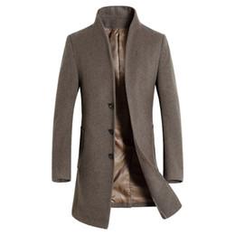 Cappotto uomo jaket online-Cappotto di lana 2019 inverno Uomo lungo giacca a vento cappotto di lana Mens Casual Peacoat maschio di alta qualità classica Jaket Trench