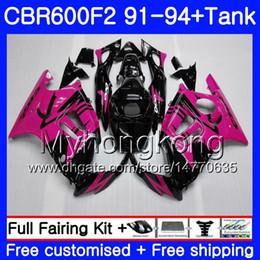 1994 honda cbr f2 carrinhos on-line-Corpo + Tanque Para HONDA CBR 600F2 CBR600FS CBR600F2 91 92 93 94 288HM.23 CBR 600 F2 FS CBR600 F2 1991 1992 1993 1994 Kit de carenagem Rose Pink blk