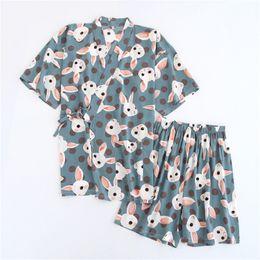 Женские пижамы шорты набор милый кролик печати вискоза с коротким рукавом комоно халат шорты юката пижамы набор supplier viscose womens от Поставщики вискозные женские