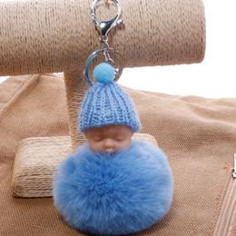Joli sac de couchage en gros en Ligne-Cadeau créatif Boucle de clé en peluche mignon bébé endormi sac cintre dessin animé poupée de couchage en peluche boule clé boucle en gros, sans fret