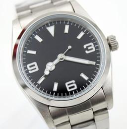 36MM Automatic Mechanical Fixed Domed Edelstahl Lünette Herrenuhr Uhren schwarzes Zifferblatt mit Leuchtzeigern und Index Indexe von Fabrikanten