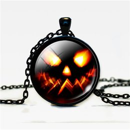organic glasses Coupons - Halloween Pumpkin and Witch Pattern Mens and Womens Pendant Necklaces Organic Glass Circle Pendant Unisex Necklaces