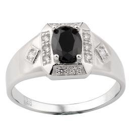 Опоры для пластин онлайн-Стерлингового серебра 925 кольцо для мужчин 6x8mm цирконий CZ родием ювелирные изделия размер 6 до 13 поддержка груза падения R117W