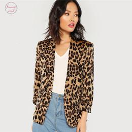 2019 châle batik Multicolor col châle manches froncées Leopard Blazer élégant Casual 3 4 manches Manteaux Highstreet Automne Femmes Manteau châle batik pas cher