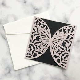 pop up easter cards Promo Codes - 50pcs White Wedding Invitation Card Gorgeous 3D Pop-Up Butterfly Patterns Cover For Mother's Day Thanksgiving Theme Greeting Card