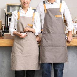 grembiuli pieni Sconti Completo Grigio / Cachi Cotone Lino Grembiule Barista Caffè Chef Bistrot Divise da cameriere Pittore Baker Fiorista Giardiniere Abbigliamento da lavoro