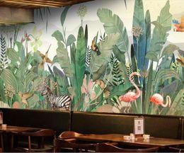 tropischen drucktapete Rabatt Südostasien Tropical Wandbild Vogel Zebra Bananenblatt Tapeten Kunst Wandtattoo HD Gedrucktes Fototapeten Flamingopapier
