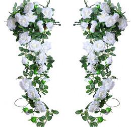 Seide hängende wand blumen dekor online-6.5Ft Künstliche Rose Vine Silk Blume Garland Hängende Körbe Pflanzen Home Outdoor Hochzeit Arch Garden Wall Decor,