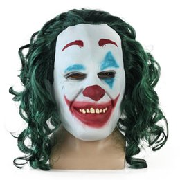 2019 Joker Film Cosplay Maske The Dark Knight Korku Korkunç Palyaço Maskesi Saç Peruk ile Cadılar Bayramı Lateks Parti Kostüm nereden