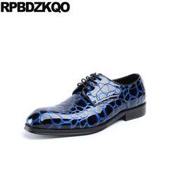 sapatas de vestido azuis formais dos homens Desconto Pele de cobra preto couro oxfords formal europeu dedo do pé quadrado italiano Itália casamento pele de cobra derby homens azul vestido sapatos