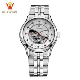 Relógios do ouyawei on-line-Ouyawei marca nova moda lazer totalmente automático oco-out senhoras cinto de aço à prova d 'água relógio mecânico