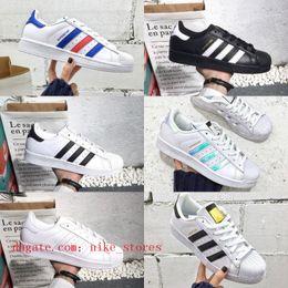 Hot Sell Superstars Scarpe 2020 Oro Bianco Economici New Black Hologram Junior Originals Superstars 80 Orgoglio Sneakers Super Star Donna Uomo Scarpe